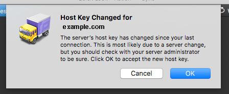Transmit Host Key Changed