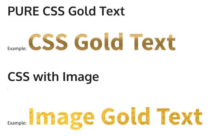Gold Text css image